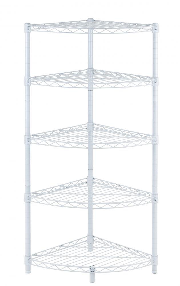 Amazon.com: New White 5-Tier Corner Rack Display Shelf Kitchen ...