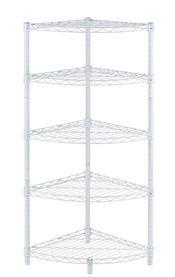 New White 5 Tier Corner Rack Display Shelf Kitchen Storage Wire Shelving C485