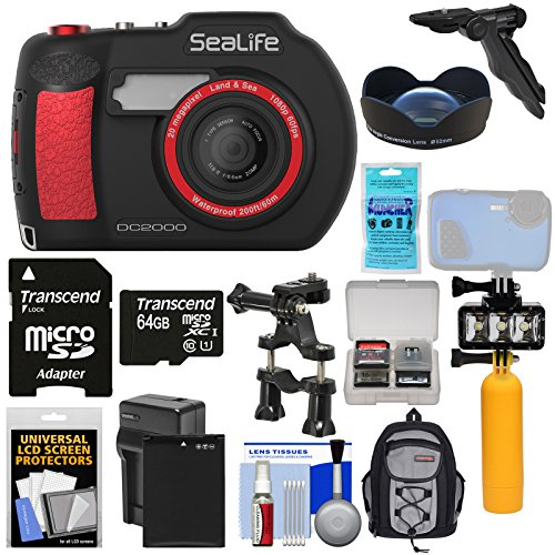 Lens Camera Sea Life (SeaLife DC2000 HD Underwater Digital Camera with Wide Angle Lens + 64GB Card + Backpack + Video Light + Buoy Handle + Battery + Kit)