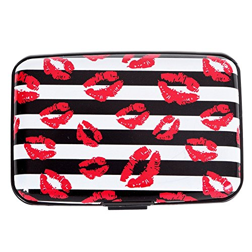 Vichline Aluminum RFID Blocking Slim Metal Wallet Credit Card Holder for Men Women (Red Lip)