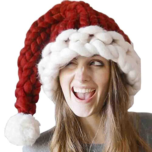 Hatop Parents Children Christmas Hat Baggy Handmade Wool Winter Warm Long Tail Hat (50(L)25(W), Red (Mom))