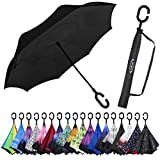G4Free Double Layer Inverted Umbrella Black Cars Reverse Folding Umbrellas, Windproof UV Protection Large Umbrella for Car Rain Outdoor with C-Shaped Handle (Black)