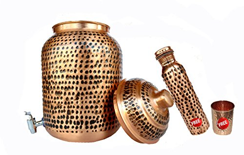 Rastogi Handicrafts Pure Copper Hammered Water Storage Tank Pot With FREE TUMBLER AND COPPER BOTTLE (7 LITTTER POT, BLACK HAMMERED) by Rastogi Handicrafts