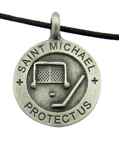 Religious Catholic Youth Gift 7/8 Inch Round Pewter Archangel Saint St Michael Hockey Sports Protection Medal with Adjustable Cord Chain Necklace