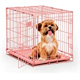 "MidWest iCrate 24"" Pink Folding Metal Dog Crate w/ Divider Panel, Floor Protecting ""Roller"" Feet & Leak Proof Plastic Tray; 24L x 18W x 19H Inches, Small Dog Breed"