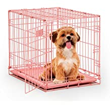 """MidWest iCrate 24"""" Pink Folding Metal Dog Crate w/ Divider Panel, Floor Protecting """"Roller"""" Feet & Leak Proof Plastic Tray; 24L x 18W x 19H Inches, Small Dog Breed"""