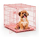 Pink Dog Crate | MidWest iCrate 24' Pink Folding Metal Dog Crate w/ Divider Panel, Floor Protecting Feet & Leak Proof Dog Tray | 24L x 18W x 19H Inches, Small Dog Breed