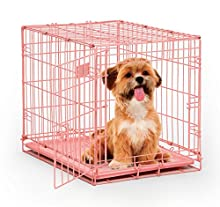 "Pink Dog Crate | MidWest iCrate 24"" Pink Folding Metal Dog Crate w/ Divider Panel, Floor Protecting Feet & Leak Proof Dog Tray 