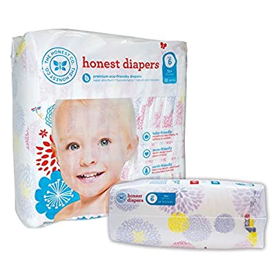 The Honest Company Diapers - PREMIUM Eco-friendly - 1 Package - 22 Ct - (35 lbs+) - Size 6 - BLOOM FLOWERS