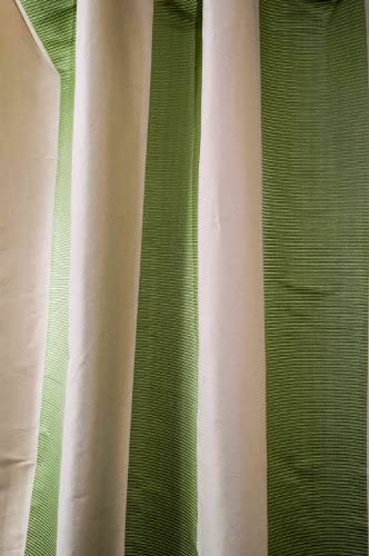 Ivory Green Ribbed Stripes Silk Blended Curtain/Panel/Drape 52″ W X 108″ L