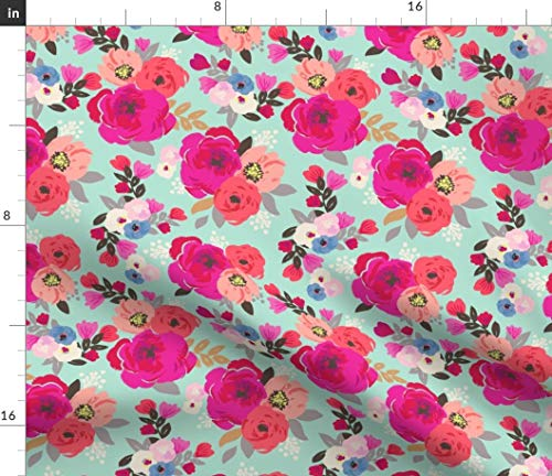 Spoonflower Floral Peony Fabric - Sweet Pea Aqua Bouquet Hot Pink Peach Coral Blue Rose Print on Fabric by The Yard - Organic Cotton Knit for Baby Blankets Clothing Apparel T-Shirts (Organic Peach Roses Bouquet One)