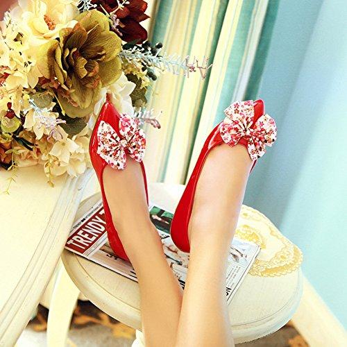 Summerwhisper Femmes Sexy Floral Bowknot Bout Pointu Chaussures De Travail Larges Glisser Sur Plat En Cuir Verni Pompes Rouge