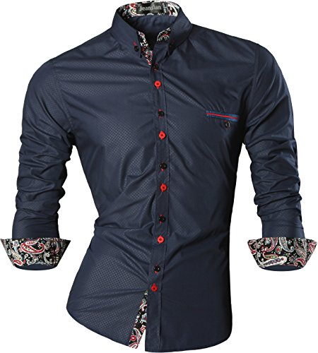 jeansian Men's Slim Retro Printed Long Sleeves Button Down Dress Shirts Z027 Navy M