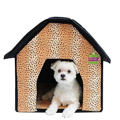 Amazon Com Soft Sponge Portable Pet Cottage House Bed Leopard