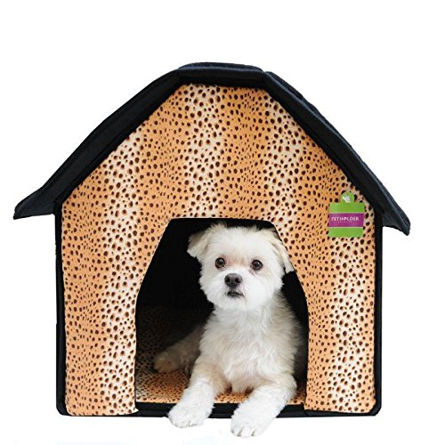 Soft Sponge Portable Pet Cottage House Bed Leopard Theme Print for Dog Cat Warm tent indoor (Leopard)