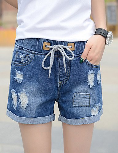 bluee Women's Mid Rise Stretchy Jeans Shorts Pants,Simple Slim Solid