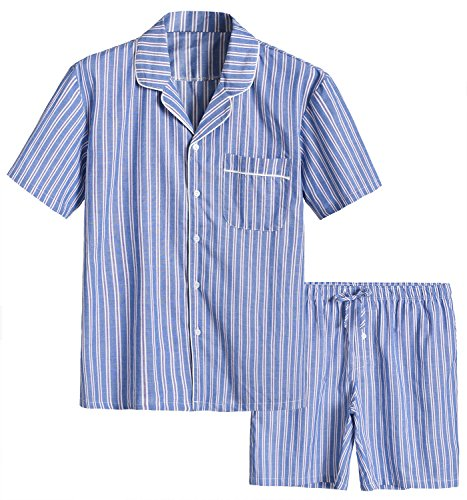 Latuza Men's Cotton Woven Short Sleepwear Pajama Set XXL Blue Stripe (Pajama Woven Stripe Top)