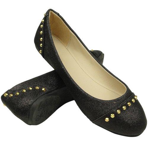 Womens Ballet Flats Glitter En Gold Studded Slip On Black Sz 8.5