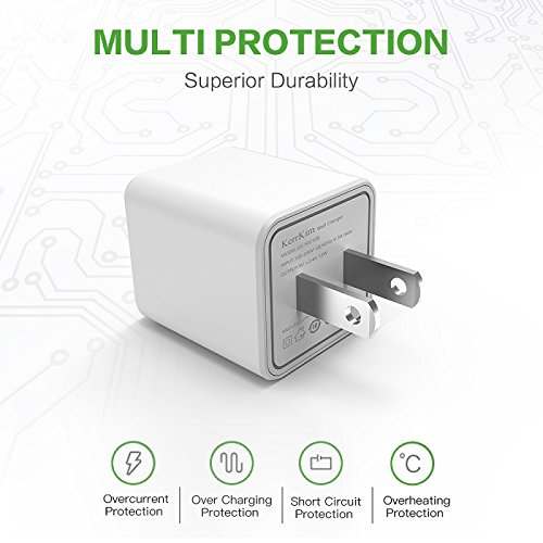 Wall Charger, 2.4A 12W Dual Port Portable Universal USB Wall Charger Apple iPhone,iPad, Samsung Galaxy, HTC Nexus Moto BlackBerry, Bluetooth Speaker Headset & Power Bank, White (2-Pack) by KerrKim (Image #2)