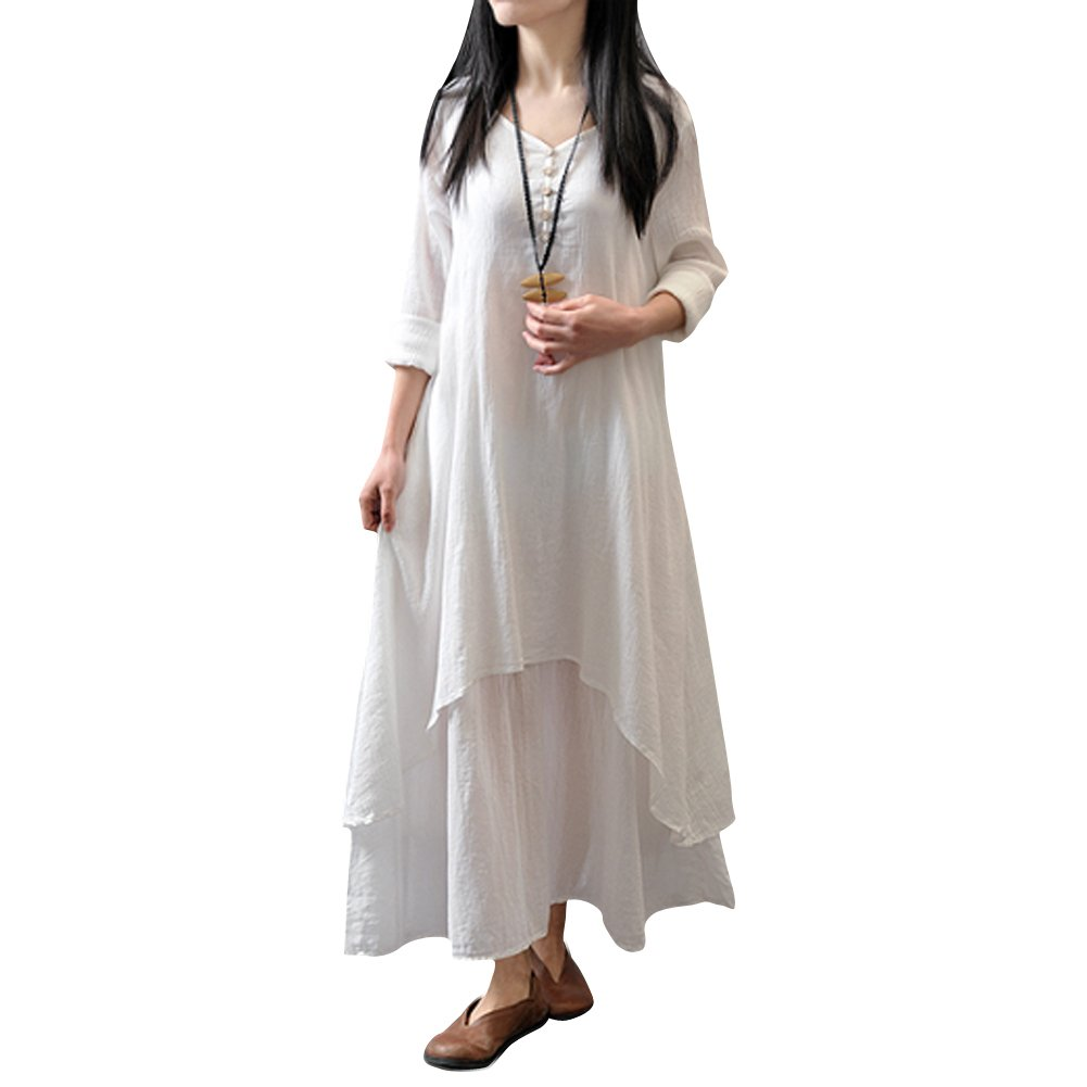 1b06f668a5 Vodool New Women Peasant Ethnic Boho Cotton Loose Linen Long Maxi Dress   Amazon.in  Clothing   Accessories