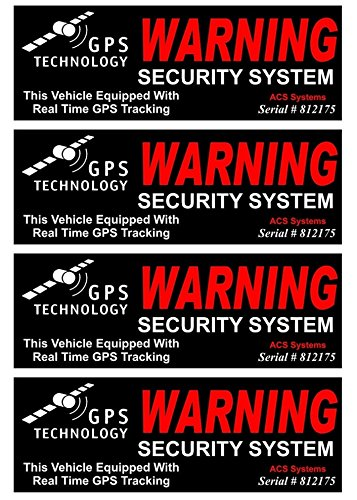 4-Set Rousing Unique Warning GPS Tracking Security System Technology This Vehicle Equipped with Real Time Outside Adhesive Stickers Sign CCTV Surveillance Reflective Video Decals Size 4.5