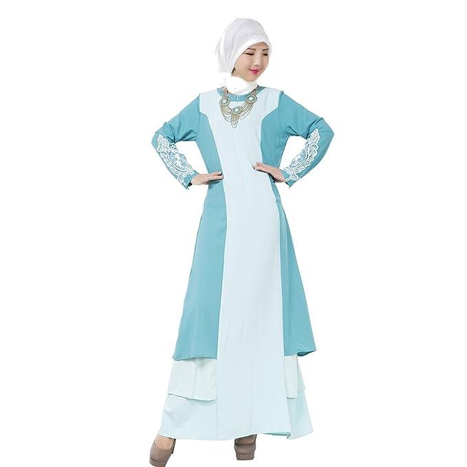 XFentech Mujeres Elegante Moda Empalme de color Vestido de Musulmán Árabe Túnica Manga Larga Largos Maxi Caftán Vestidos: Amazon.es: Ropa y accesorios