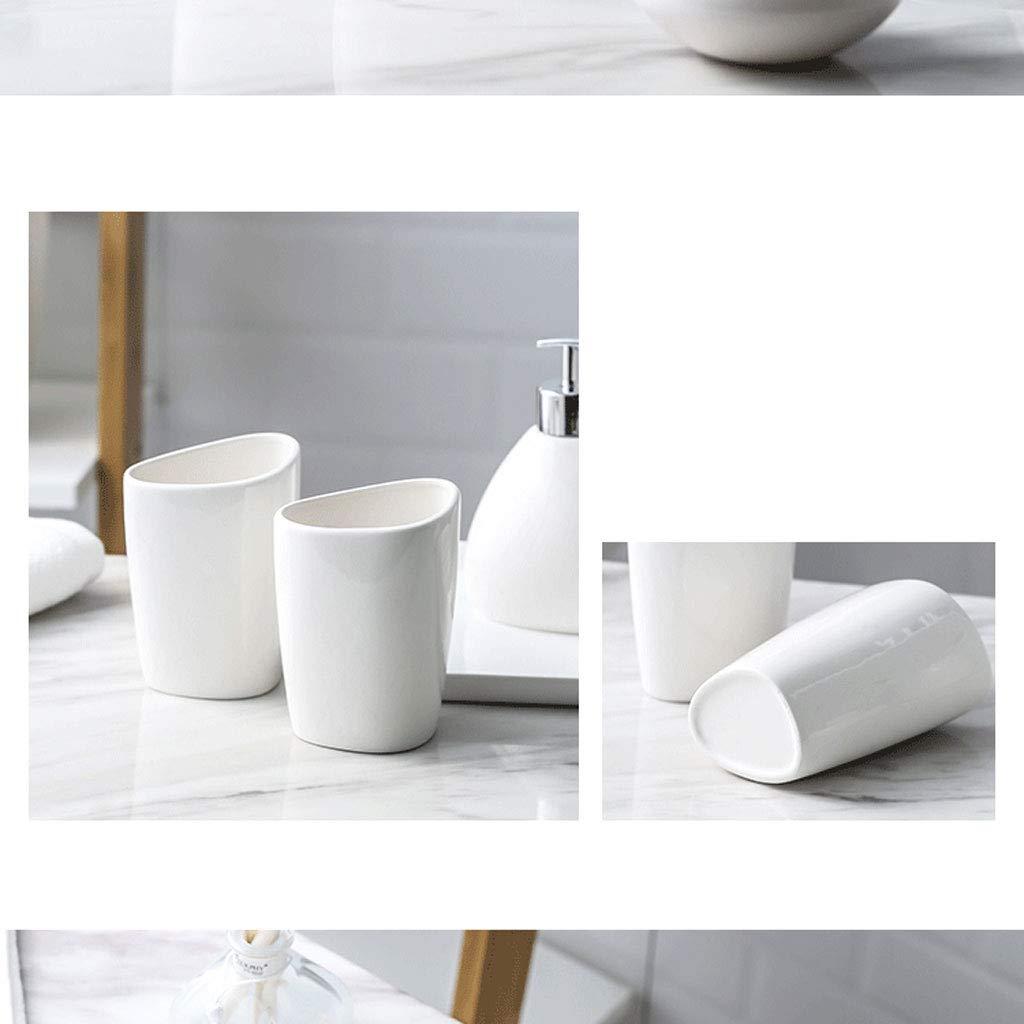 Juego de accesorios ba/ño recipientes de cer/ámica para ba/ño Plato dejab/ón,dispensadores para el Cepillo de Dientes Set Conjunto de Accesorios para Ba/ño Blanco,Vaso para cepillos de Dientes,jabonera
