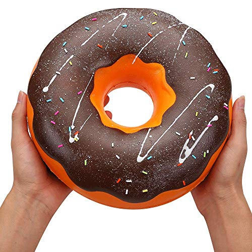 Ganjiang Giant Squishy Toys Jumbo Soft Slow Rising Collection Gift Stress Reliever (Chocolate Donut)