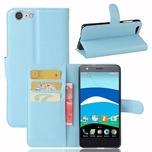 Lusee® PU Caso de cuero sintético Funda para ZTE Blade V770 / Orange Neva 80 Tt175s 5.2 Pulgada Cubierta con funda de silicona azul azul