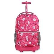 J World New York Sunrise Rolling Backpack. Roller Bag with Wheels, Aloha, 18″