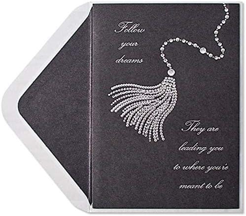 White Laser-Cut Happy Graduation on Gold Papyrus Graduation Card