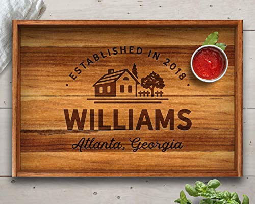 Farmhouse Style, Tray, Teak, Custom Serving Tray, Tray with Handles, Engraved Tray, Gift for Her, Gift For Wife, Wedding Gift, Established, Fixer Upper Style, Fixer Upper Decor, Christmas Gifts