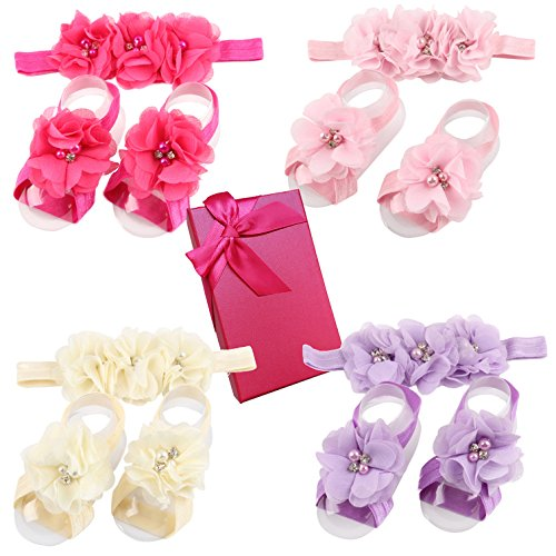 Elesa Miracle Baby Girl Headbands and Barefoot Flower Sandals Value Set, Set of 4 (Set A)