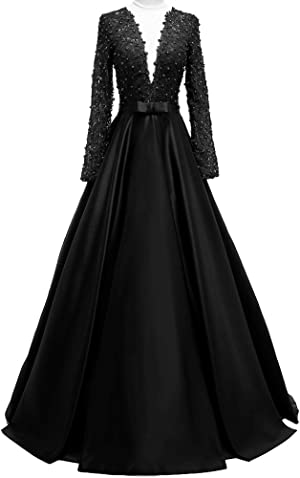 0e46fc6bac2 Women s Deep V-Neck Beaded Prom Dress Lace Evening Ball Gowns with Long  Sleeves