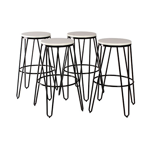 Bar Modern Stool Metallic - Kate and Laurel Tully Two Toned Wood and Metal Bar Stools, Set of 4, Black and White