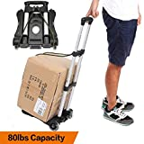 Anfan Folding Luggage Cart Portable Personal Moving Hand Truck 2 Wheels Foldable Platform Truck Shopping Cart - Support 80lbs Capacity