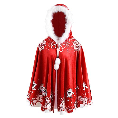 AliveGOT Christmas Costume Mrs. Santa Claus Cardigan Hooded Cape Cloak (One Size) ()