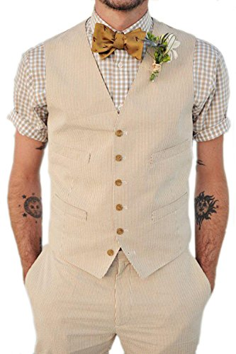 Brightmenyouth Pinstripe Seersucker Vest Designs Mens Prom Suits Waistcoat Slim Men Suit Vest Wedding Vests for Men (Beige, XL)