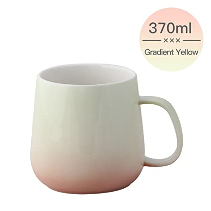 1cf10f41fb2 UPSTYLE 0.37L Gradient Color Ceramic Cup Colorful Bone China Pretty Office  Mug Cute Tumbler Reusable Coffee to Go Pottery Travel Mug Tea/Water/Milk ...