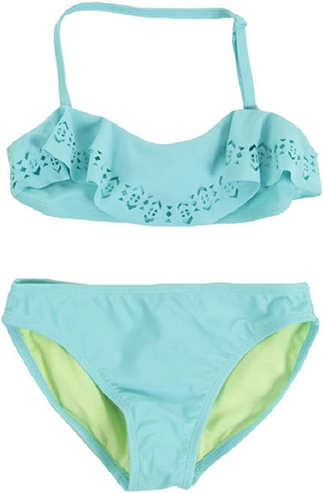 Jessica Simpson Girls 7-16 Laser Cut Flounce Bikini 2pc