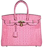 Cherish Kiss Women's Luxury Embossed Crocodile Leather Tote Office Padlock Handbags (30CM, Pink)