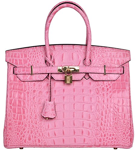 Cherish Kiss Women's Luxury Embossed Crocodile Leather Tote Office Padlock Handbags (30CM, Pink) by Cherish Kiss