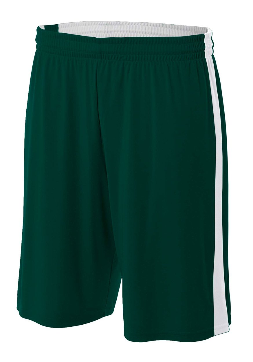 A4 NB5284-FRW Reversible Moisture Management Shorts, 8''/Medium, Forest/White by A4