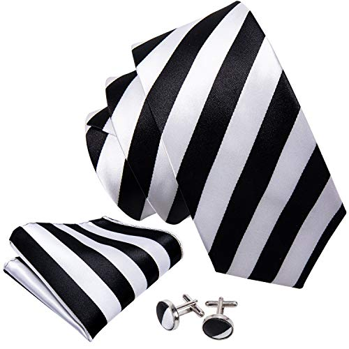 - Barry.Wang Black and White Ties for Men Pocket Square Cufflinks Tie Set