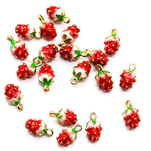 - Buorsa 20 Pcs Strawberry Charm Beads Fruit Shaped Jewelry Making Pendants for Earring Necklace Bracelet Jewelry Making and Crafting