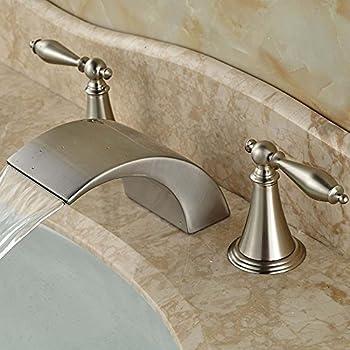 Senlesen Stainless Steel Waterfall Spout Bathroom Vessel Sink Faucet Deck  Mounted Dual Handles,Brushed Nickel