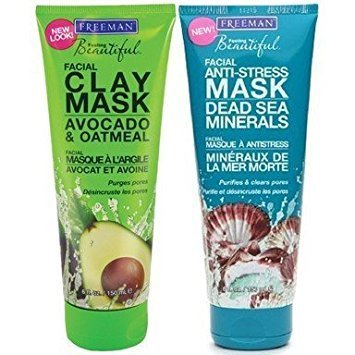 Freeman Facial Mask Variety Bundle, 6 fl oz, Pack of 2, 1 Tube Avocado & Oatmeal Facial Clay Mask and 1 Tube Dead Sea Minerals Facial Anti-Stress - Clay Mask Mineral