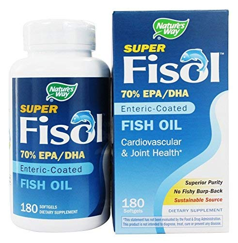 Nature's Way Super Fisol Enteric-Coated Fish Oil for Targeted Release, 70% EPA/DHA, 180 Softgels ()