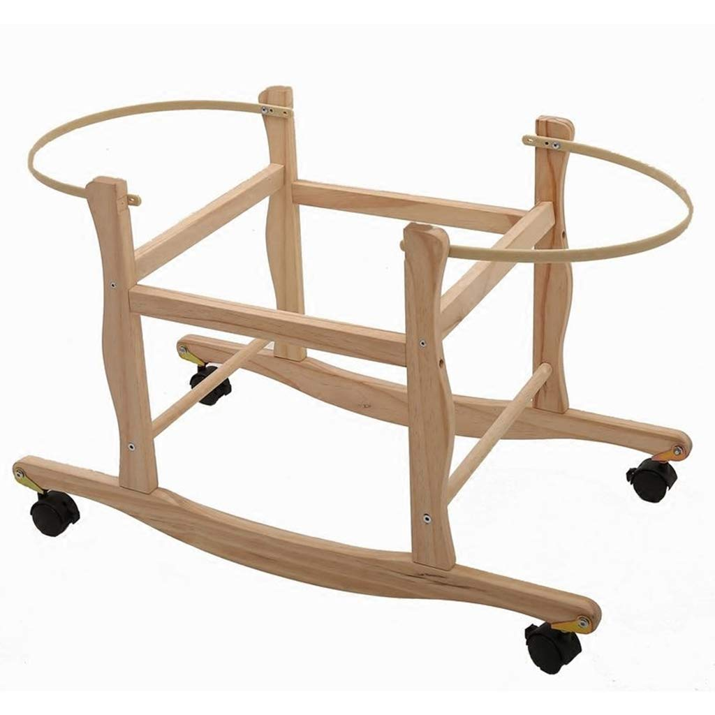 Newborn Baby Cradle with 4 Foldable Casters (Back and Forth Swing) Needs to Be Used with A Baby Sleeping Basket by YA-Moses Baskets