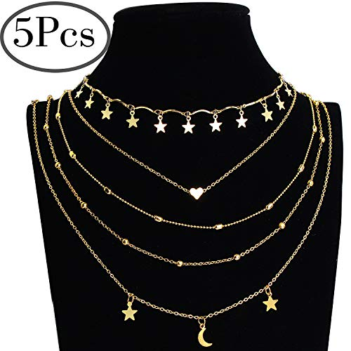 Outee 5 Pcs Layered Necklace Chokers Simple Layered Clavicle Necklace Multilayer Gold Tone Tiered Chokers Necklaces for Women Girls Bead Heart Star Moon Pendant Chain ()